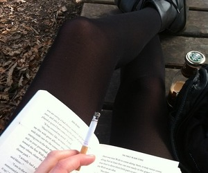 book, cigarette, and black image