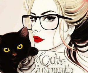 cat, girl, and glasses image