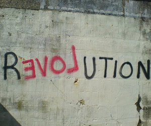 grafitti, revolution, and text image