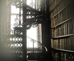 book, library, and stairs image