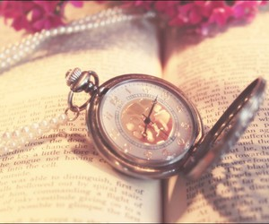 book, clock, and old image