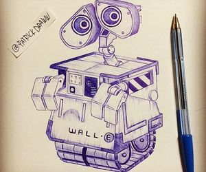 art, drawing, and wall e image