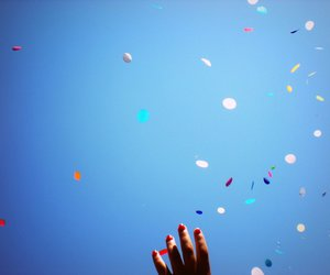 confetti, nails, and hand image