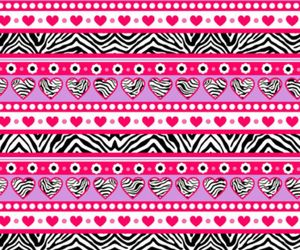 hearts, pink, and zebra image