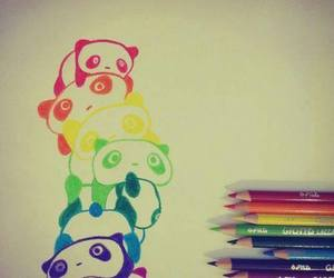 panda, colorful, and draw image