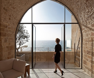 architecture, grey tile flooring, and beach scenery view image