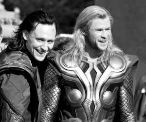 thor, black and white, and Hot image