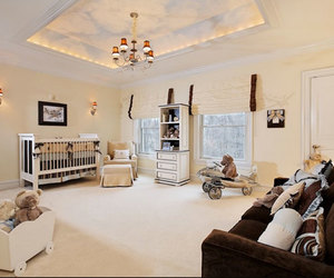 kids room, white bedcover, and beautiful carpet image