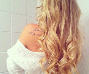 hair, blonde, and tattoo image