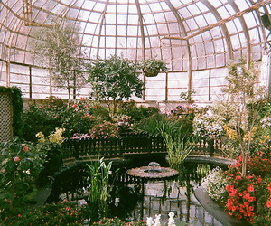 architecture, fountain, and greenhouse image