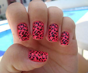 nails, leopard print, and pink image