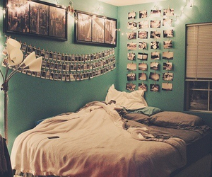 bed, light, and pictures image