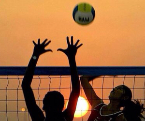 volleyball, ball, and beach image