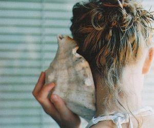 girl, shell, and sea image