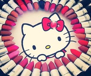hello kitty, lipstick, and makeup image