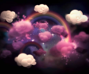 rainbow, clouds, and pink image