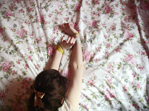 girl, floral, and bow image