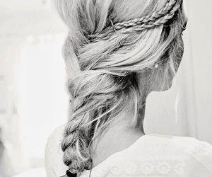 beautiful, black and white, and braid image
