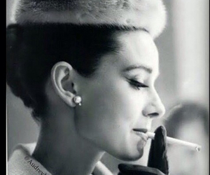 audrey hepburn, cigarette, and smoking image
