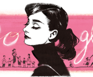 audrey hepburn, google, and pink image