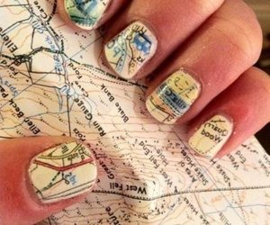 nails, map, and nail art image
