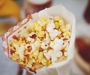 food, popcorn, and yummy image