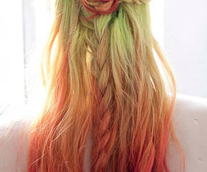 hair, green, and red image