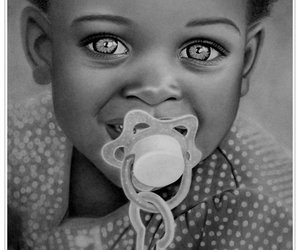 baby, black and white, and cute image