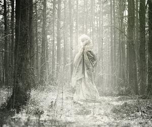 black and white, cloak, and dark image