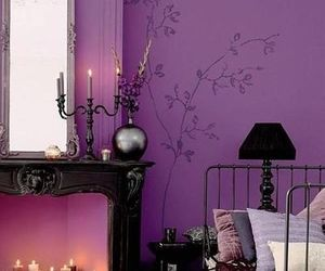purple, candle, and bedroom image