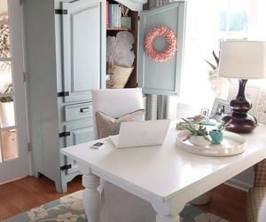 decor, laptop, and room image