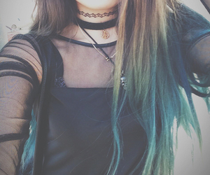 blue hair, long hair, and style image