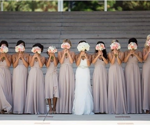 wedding, bridesmaid, and bride image