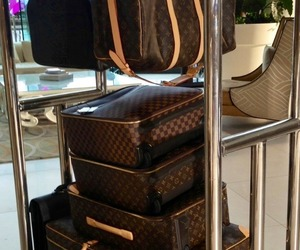 suitcase, Louis Vuitton, and travel image