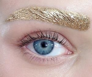 gold, eyebrows, and eye image