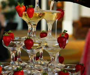champagne, strawberry, and drink image