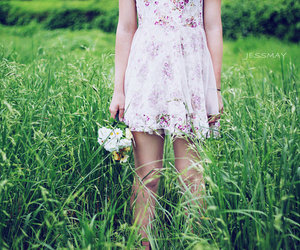 dress, field, and flower image