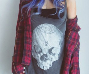 hair, grunge, and blue image