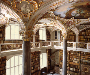 book, library, and castle image