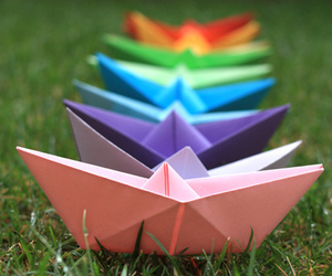 boat, Paper, and rainbow image