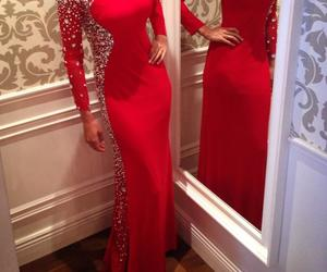 fashion, red dress, and girls image