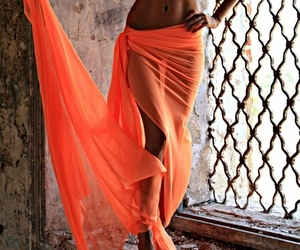 girl, summer, and orange image