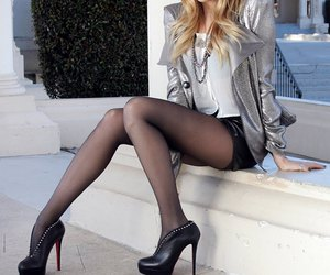 blonde, silver jacket, and fashion image