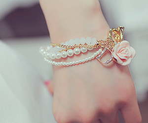 bracelet, pearls, and pretty image