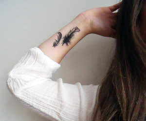 arm, feather, and girl image