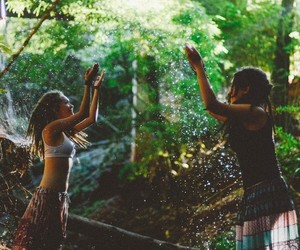 hippie, girls, and nature image