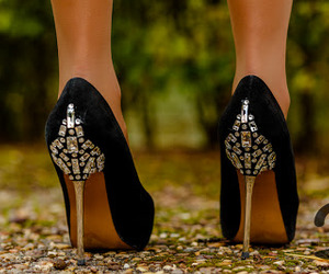 black, heels, and style image