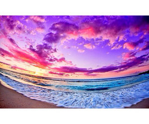 beach, water, and sky image