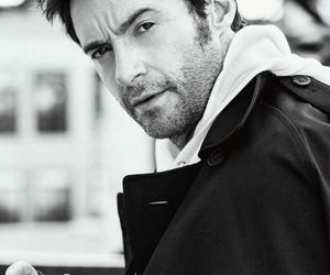 actor, hugh jackman, and black and white image