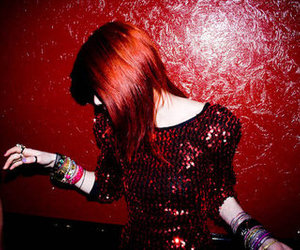 red hair, girl, and sequins image